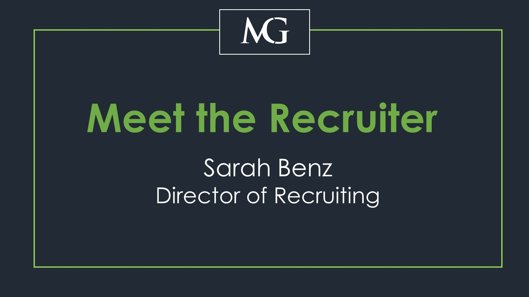 meet the recruiter promo Sarah